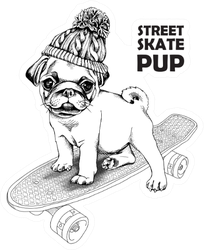 Street Skate Pup Pug Sticker