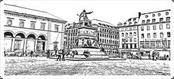 Street View Of Munich City In Germany Sticker