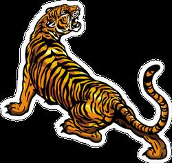 Stretching Tiger Sticker