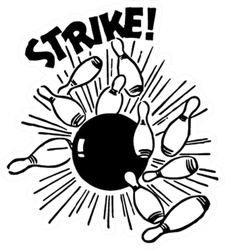 Strike! Bowling Ball And Pins Sticker