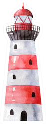 Striped Red And White Lighthouse Watercolor Sticker