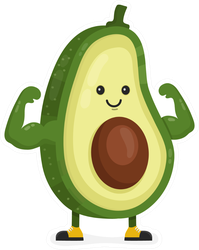 Strong Flexing Avocado Sticker