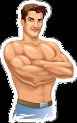 Strong Man Standing Shirtless Sticker