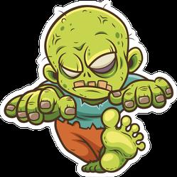Stumbling Baby Cartoon Zombie Sticker