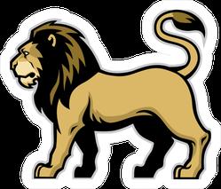 Sturdy Lion Mascot Standing Sticker