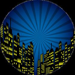 Style Cartoon Night City Skyline Background Sticker