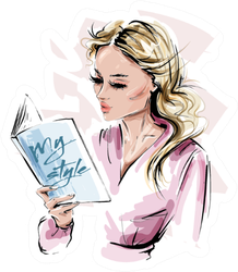 Stylish Blonde Hair Girl Reading A Book Sticker