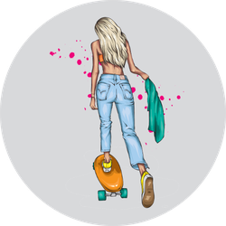 Stylish Girl Skater In Jeans And Sneakers Sticker