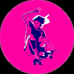 Stylish Girl Skater Jumping Sticker