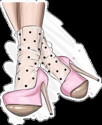 Stylish Pink Heels And Lace Socks Sticker