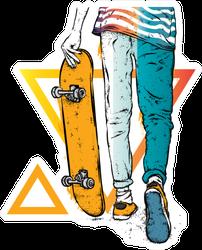 Stylish Skater Illustration Sticker