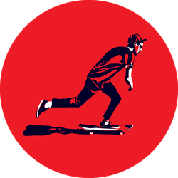 Stylish Skater In Jeans On Red Sticker