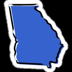 Stylized Blue Sketch Map Of Georgia Sticker