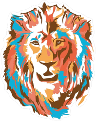 Stylized Colorful Lion Head Sticker