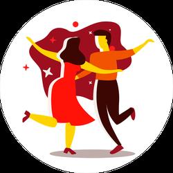 Stylized Couple Dancing Sticker