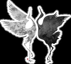 Stylized Dancing Cranes In A Japanese Hieroglyph Sticker