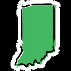 Stylized Green Sketch Map Of Indiana Sticker