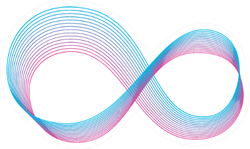 Stylized Infinity Sign Blue and Pink Sticker