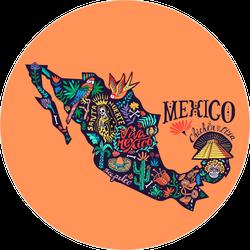 Stylized Map Of Mexico Sticker