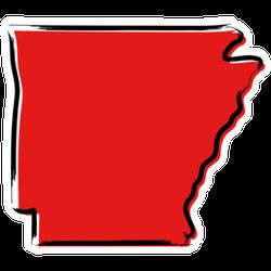 Stylized Red Sketch Map Of Arkansas Sticker