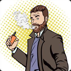 Suave Man Smoking Vape E-cigarette Sticker