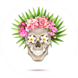 Sugar Skull with Leaf Hair Sticker