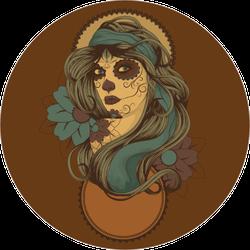 Sugar Skull Woman with Blue Hair Sticker