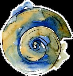Summer Beach Seashell In Blue Watercolor Sticker