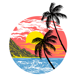 Summer California Sunset With Palm Trees Sticker