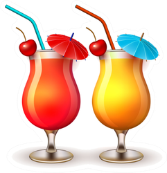 Summer Cocktail Glasses Sticker