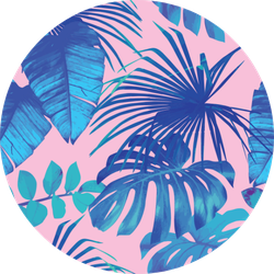 Summer Exotic Floral Tropical Banana Leaves In Blue Sticker