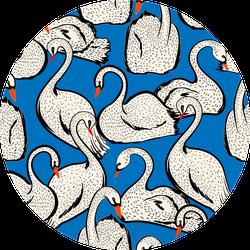 Summer Lake With Hand Drawn Swan Birds Pattern Sticker