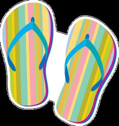 Summer Retro Flip Flops Sticker