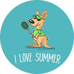 Summer Tennis Poster With Kangaroo Sticker