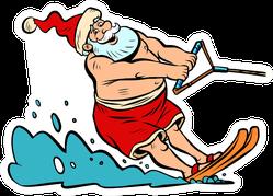 Summer Vacation Water Skiing Santa Claus Sticker