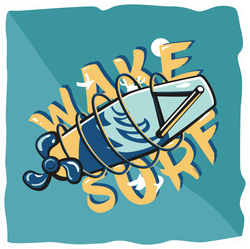 Summer Wakeboarding Typography Sticker
