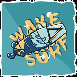 Summer Wakeboarding Typography Sticker