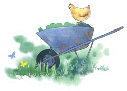 Summer Watercolor Garden Illustration With Chickens Sticker