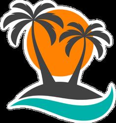 Sun and Palm Trees Island Sticker