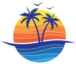 Sun Beach Ocean Palm Tree Sticker