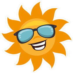 Sun With Sunglasses Character Sticker