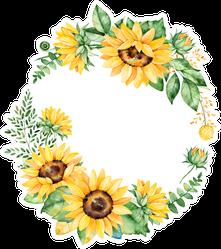 Sunflower Floral Wreath Sticker