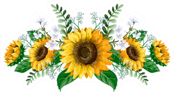Sunflowers Bouquet With Wild Flowers Sticker