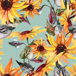 Sunflowers On Turquoise Sticker