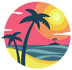 Sunrise With Palm Trees On a Tropical Island Sticker