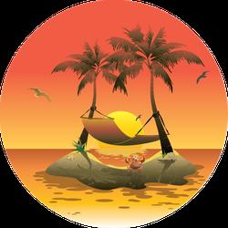 Sunset Beach Hammock Sticker