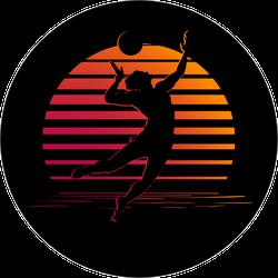 Sunset Beach Volleyball Sticker