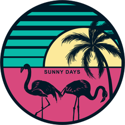 Sunset With Flamingos And A Palm Tree Sticker
