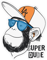 Super Dude Monkey Sticker