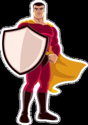 Superhero Holding Big Shield Sticker